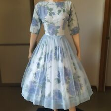 1950s Vintage Rose Print Dress With Chiffon Overlay 27w