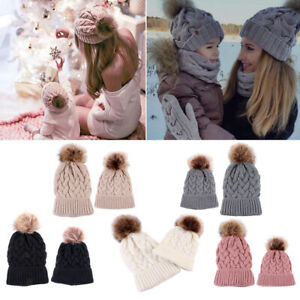 2PCS Parent-Child Mom&Baby Beanie Hairball Cap Ball Warm Winter Knitted Hat