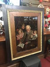 """1904 I.W. HARPER Reverse Glass 50"""" Framed Ad Watch Video Free Freight Shipping"""