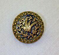 Antique Victorian Buttons SET Bird Flowers Picture Button