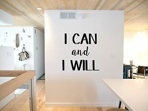 I Can and I Will, Motivational, Gym, Home, quote, wall sticker, vinyl decal