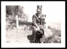 Vintage Photograph 1940'S Man Fashion Collar Fox Terrier Dog Puppy Pup Old Photo