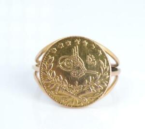 SOLID GOLD COIN ARABIC MIDDLE EAST 22K GOLD RING SIZE 7.25 3.4 GRAMS NOT SCRAP