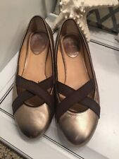 cole haan women's ballet flats gold leather slip on shoes size 10 B