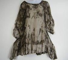 Maglie e camicie da donna marrone in seta con girocollo