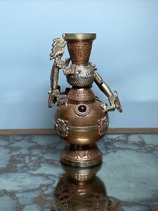Vintage Surahi Copper & Brass Double Dragon Vase Inlayed Red Glass Stones Asian