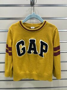 Baby Gap Boys Size 4 Yellow/ Navy/ Maroon Logo  Pullover  Cotton Knit Sweater