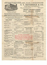 VINTAGE 1921 PRICE LIST! SINGLE SHEET GRASS & FIELD SEEDS/HAY/GRAIN/FERTILIZER!
