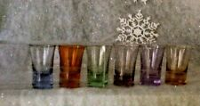 Vintage 6-pc  Laura Glass Colored Shot Glasses NIP PERFECT CHRISTMAS GIFT GIVING