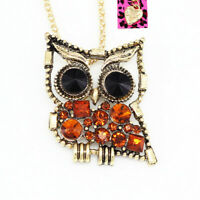 Betsey Johnson Crystal Cute Owl Pendant Sweater Chain Necklace/Brooch Pin Gift