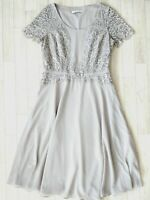 JACQUES VERT Grey Lace Dress Size 12 Wedding Guest Mother Of The Bride Races