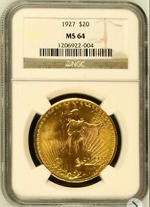 1927 $20 Gold Saint Gaudens MS 64