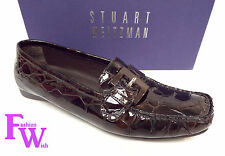 STUART WEITZMAN Size 8 Cola Brown Alligator Print Patent Moccasins Loafers Shoes
