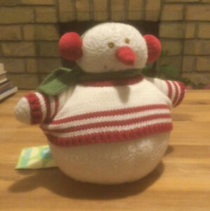 BNWT Gorgeous Gymboree Plush Soft Toy Wobbly Rattle Snowman Funds For Hedgehogs