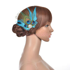 Elegant Peacock Blue Feather Fascinator Bridal Head Hair Flower Wedding Hairclip