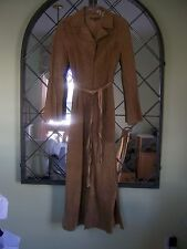 Arden B Women Camel Colored Suede Leather Patchwork Long Coat Size XS