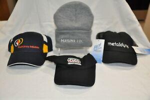 One each ball cap, mesh cap, visor and grey beanie