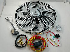 "Chrome 16"" Heavy Duty Electric Fan 3000 CFM  W/ 30 Amp Relay SBC BBC Ford Mopar"