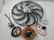 """Chrome 16"""" Heavy Duty Electric Fan 3000 CFM  W/ 30 Amp Relay SBC BBC Ford Mopar"""