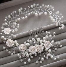 ⭐️Pearl/Crystal/Diamante Rose Bridal Hair Accessory Headband Boho Tiara Comb ⭐️