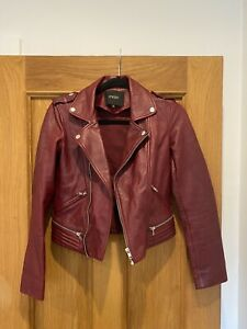 Gorgeous Women's MAJE Red Lamb Leather Biker Jacket Size 36