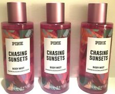 3 Pink Victoria's Secret Fragrance Perfume Mist Chasing Sunsets almond & peach
