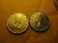 1953 Canada 5 Cent 2 Varieties Shoulder Fold and Non Shoulder Fold.