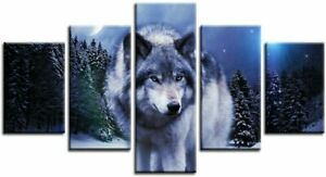 Wolf in The Night Sky Forest 5 Piece canvas Wall Art Print Poster Home Decor