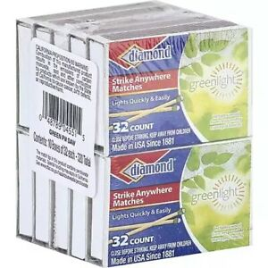 10 Pack -320 TOTAL DIAMOND STRIKE ANYWHERE PENNY MATCHES GREEN-LIGHT-32 Per Box