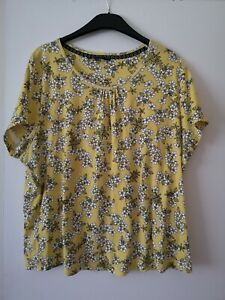 Maine new England ladies yellow floral t shirt top size 22 vgc