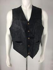 Men's XXL Motorcycle Vest Black Sleeveless Navarre Leather Italian Stone Design
