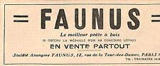 PARIS FAUNUS LE MEILLEUR POELE A BOIS PUBLICITE 1924