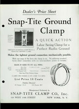 Rare Original 1928 Snap-Tite Radio Ground Pipe Clamp NY NY Dealer Sheet Page