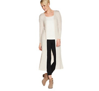 Lisa Rinna Collection Knit Duster with Ruffle Hemline Chateau Grey Medium
