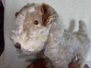 "Antique Depression Era Knickerbocker Mohair Terrier Dog Swivel Head 12 1/2"""