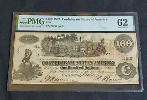 1862 $100 Confederate States T-39 PMG Uncirculated 62