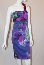 Karen Millen Purple Green Floral One Shoulder Wiggle Pencil Occasion Dress UK 8