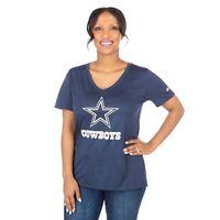 New Nike Dallas Cowboys NFL Football Women's Dri-Fit Touch Mid V-Neck T-Shirt