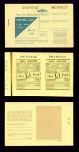 MOTOR FUEL RATION BOOK (BLUE) – MOTOR CAR 1101-1500 CC – MH7393507 - Unused