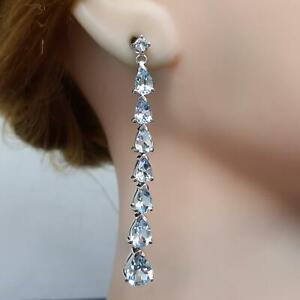 World Class 7.30ct Swiss Topaz Pear Cut 925 Sterling Silver Dangle Earrings 6.3g