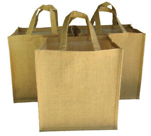 Jute Canvas Reusable Shopping Tote Bags Hard Bottom Heavy Duty 14x13x10 inches