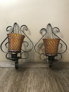 2 Wall SCONCE Black Scroll metal Hanging Candle Holder VinTaGe Votive Cup rustic