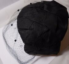 VINTAGE LADIES BLACK HAT NETTING VEIL MID CENTURY  SH7