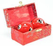 A Set of Red Chinese Baoding Taiji Iron Ball W/ Chimes Hand Stress Relief Gift