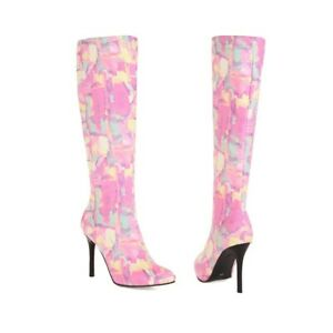 Women's Faux Suede Knee High Boots Stiletto High Heels Zip Up Pointed Toe Shoes