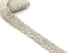 Stunning Motif Beaded Bridal Rhinestone Applique Diamante Wedding Applique trim