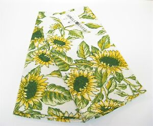 Set/2 April Cornell Cotton Kitchen Tea Towels Sunfowers Yellow Green - NEW