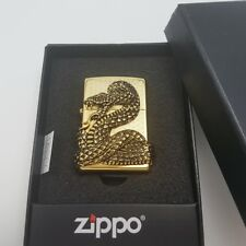 Zippo Original Lighter Snake Coil Gold Authentic Windproof Free Gift 6 Flints