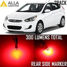 Alla Lighting Rear Side Marker/Blinker Light 2825L W5W Red LED Bulbs for Hyundai