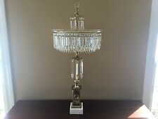 "Vintage Italian Crystal Brass Beaded Chandelier Table Candelabra ~ 37"" Exquisite"